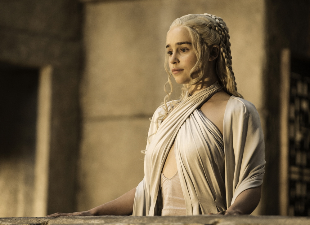 "Emilia Clarke as Daenerys Targaryen in HBO's ""Game of Thrones."" Clarke is nominated for an Emmy Award for outstanding supporting actress in a drama series."