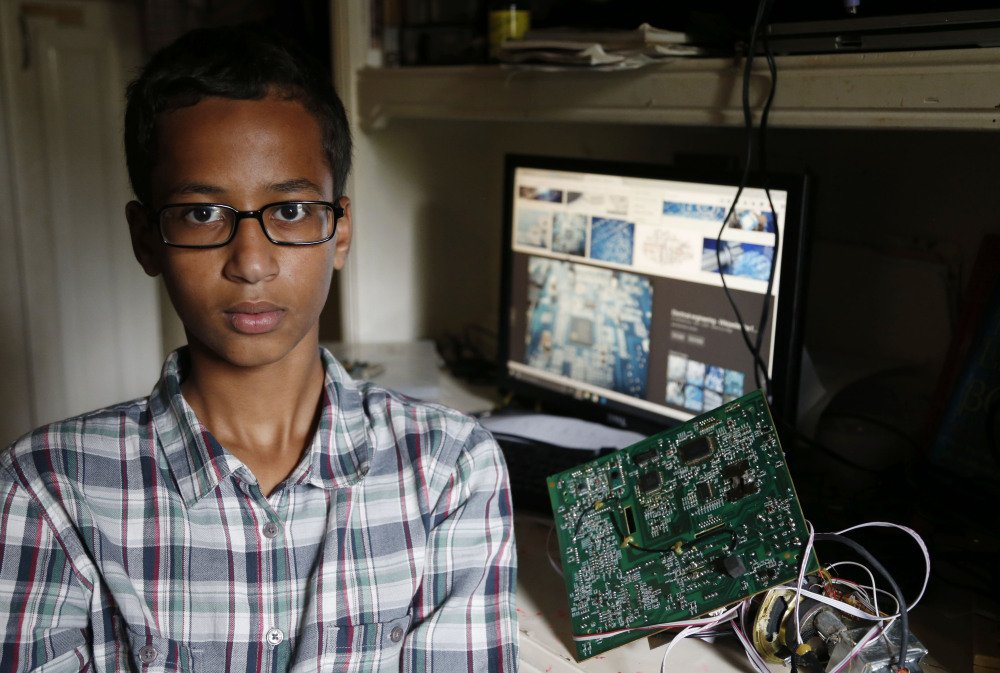 High school student Ahmed Muhamed, 14, poses for a photo at his home in Irving, Texas, on Tuesday. Muhamed was arrested and interrogated by Irving police officers Monday after bringing a homemade clock to school. Police said the device could be mistaken for a fake explosive.