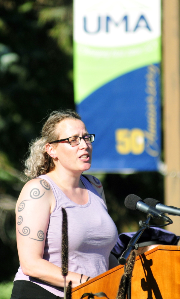 Sarah Hentges, associate professor of American studies at the University of Maine at Augusta, speaks during the convocation Friday at the University of Maine at Augusta.
