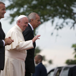 Pope Francis arrives at the Hill of the Cross in Holguin, Cuba, on Monday.
