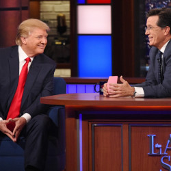 "In this photo provided by CBS, Republican presidential candidate Donald Trump, left, joins host Stephen Colbert on the set of ""The Late Show with Stephen Colbert,"" Tuesday in New York."