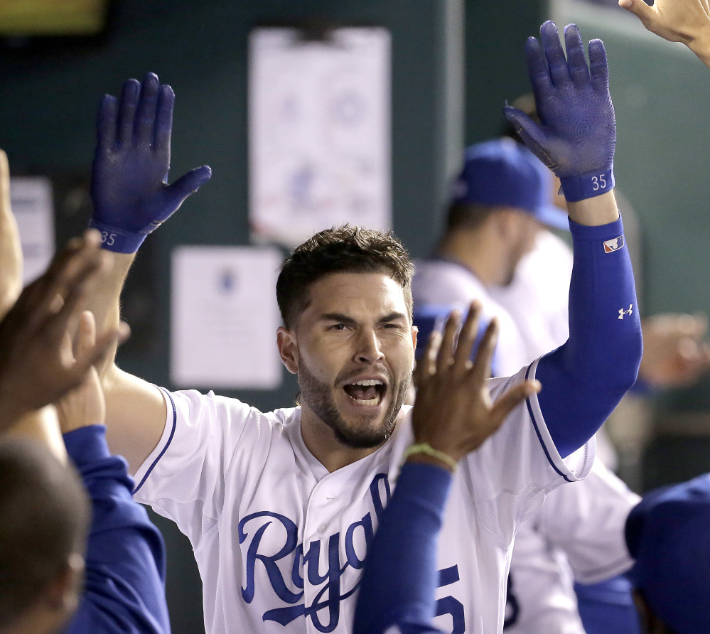 Eric Hosmer of the Royals celebrates after hitting a homer Thursday night. The Royals celebrated more later, winning their first division title in 30 years.