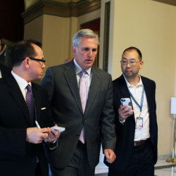 House Majority Leader Kevin McCarthy of California speaks to reporters on Capitol Hill in Washington on Friday. He is widely expected to be elevated to the speakership with John Boehner's departure.