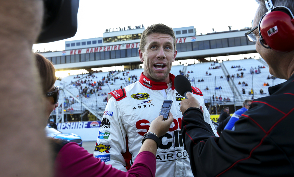 Carl Edwards was fastest in the Saturday morning practice session for Sunday's NASCAR Sprint Cup series race at New Hampshire Motor Speedway in Loudon, New Hampshire.