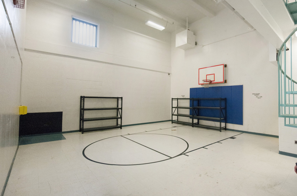 The indoor recreation area at the Kennebec County Jail in Augusta is targeted for conversion to bunk space because of jail crowding and a lack of money to board inmates elsewhere.