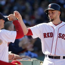 Blake Swihart, right, celebrates his solo home run with interim manager Torey Lovullo during the third inning of Sunday's game at Fenway Park. The Red Sox shut out the Orioles, 2-0.