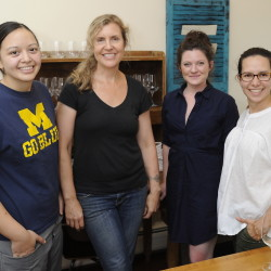 Cara Stadler, Krista Desjarlais, Kim Rogers and Ilma Lopez meet to talk about the menu for the Oct. 25 Fabulous Femmes dinner at Flanagan's Table, a barn venue in Buxton that hosts monthly chef dinners.