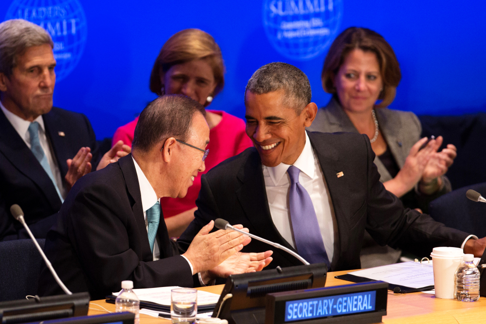 President Obama greets United Nations Secretary-General Ban Ki-moon during the summit on countering violent extremism at the United Nations headquarters Tuesday.