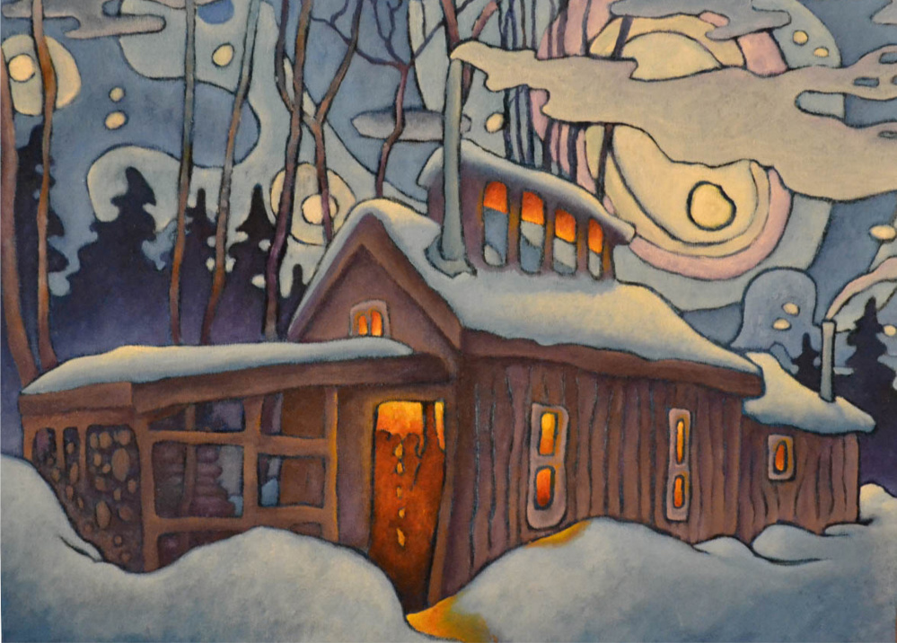 """Aaron McKusick's describes his art, including """"The Sugarhouse,"""" as a kind of regionalism or folk surrealism"""