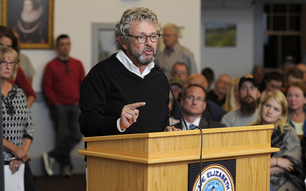 William Morris, who owns a house on Cross Steet in the abutting neighborhood that is inhabited by his daughter, son-in-law and grandson discusses the dangers of the Spurwink Rod &Gun Club's firing range at the Cape Elizabeth Town council meeting. Gordon Chibroski/Staff Photographer