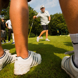 FALMOUTH, ME - SEPTEMBER 3:  Cape Elizabeth golf team members receive instruction from noted golf instructor Peter Kostis at Falmouth Country Club  on Thursday, September 3, 2015. (Photo by Carl D. Walsh/Staff Photographer)