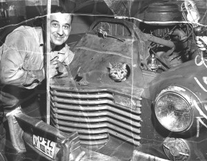Mechanic repairing car, with a cat poking out through engine compartment, 1954. From the Portland Public Library archival collection of Portland Press Herald, Maine Sunday Telegram and Evening Express photos.