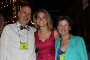 Ralph Keyes, Outing Club Advisor at Wiscasset High School, with Sara Scholarship recipient Gabby Chapman from Wiscasset High School, and Teens to Trails founder Carol Leone.