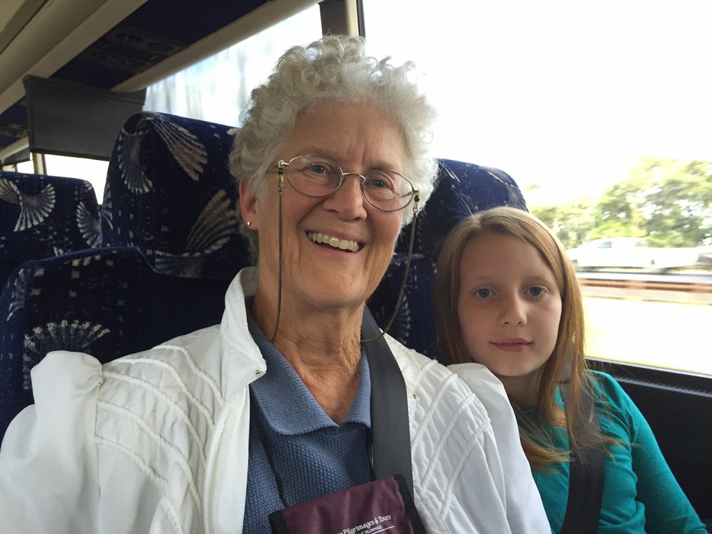 Katherine Lane of Surry and Sabine O'Malley of Portland, grandmother and granddaughter, went to see Pope Francis this weekend in Philadelphia. Lane said she went because she wants the crowd that greets Francis on Sunday to be as large as possible.