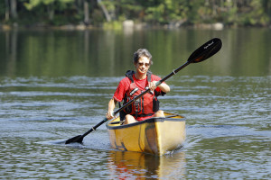 Laurie Chandler paddles on McCurdy Pond in Bremen where she trained for her trip on the 740-mile Northern Forest Canoe Trail.