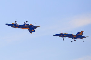 Blue Angels do some aerial tricks over the Brunswick Executive Airport on Friday, practicing a routine for this weekend's Great State of Maine Air Show.