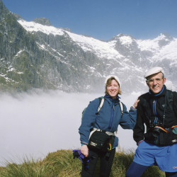 Leon Gorman with his wife Lisa, on Milford Track in New Zealand, 1992. Courtesy of L.L. Bean