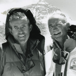 Leon Gorman, left, with good friend and fellow traveler Lloyd Holmes at Mount Everest in 1990. Photo courtesy of L.L. Bean