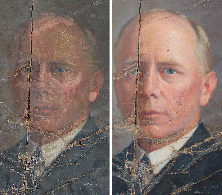 Before and after photos show that some restoration of the damaged portrait of Percival Baxter has taken place, but it will cost about $8,500 to complete the project.