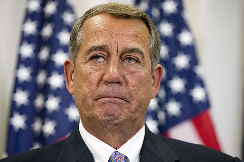 Speaker of the House John Boehner of Ohio, pauses while speaking about his opposition to the Iran deal during a news conference with members of the House Republican leadership on Capitol Hill in this Sept. 9, 2015, photo.
