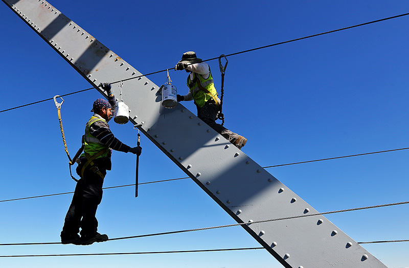 Workers paint the Julien Dubuque Bridge along U.S. 20 in Dubuque, Iowa, recently. Three years of solid hiring have put nearly 8 million more Americans to work. Dave Kettering/Telegraph Herald via AP