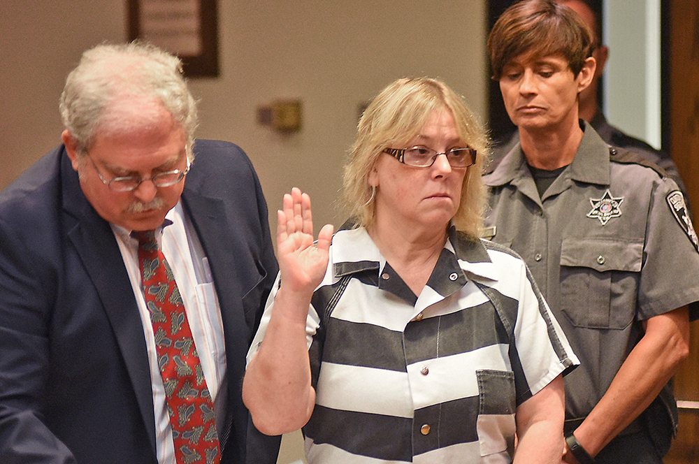 "Joyce Mitchell makes a court appearance in Plattsburgh, N.Y., in July. She told NBC's ""Today"" show that at the time of the prison breakout she was depressed and the inmates took advantage of what she called her ""weakness."" The Associated Press"