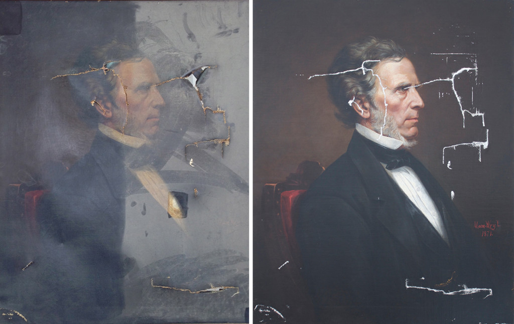 The partly restored portrait of William Pitt Fessenden, who was a member of Abraham Lincoln's Cabinet, will require about $6,500 to complete.