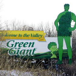 A Green Giant sign on a hillside near Le Sueur, Minn. The Associated Press