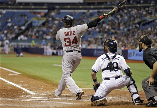 Boston Red Sox's David Ortiz watches his 500th career home run off Tampa Bay Rays starting pitcher Matt Moore during the fifth inning of a baseball game Saturday, Sept. 12, 2015, in St. Petersburg, Fla.  watching is Rays catcher J.P. Arencibia, and home plate umpire Adam Hamari. (AP Photo/Chris O'Meara)