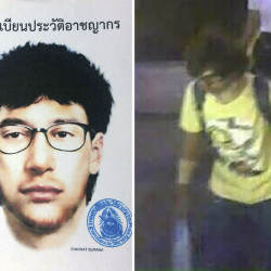A sketch and closed circuit television image of the main suspect in a deadly bombing at the Erawan shrine in downtown Bangkok on  Aug. 17. Royal Thai Police via AP