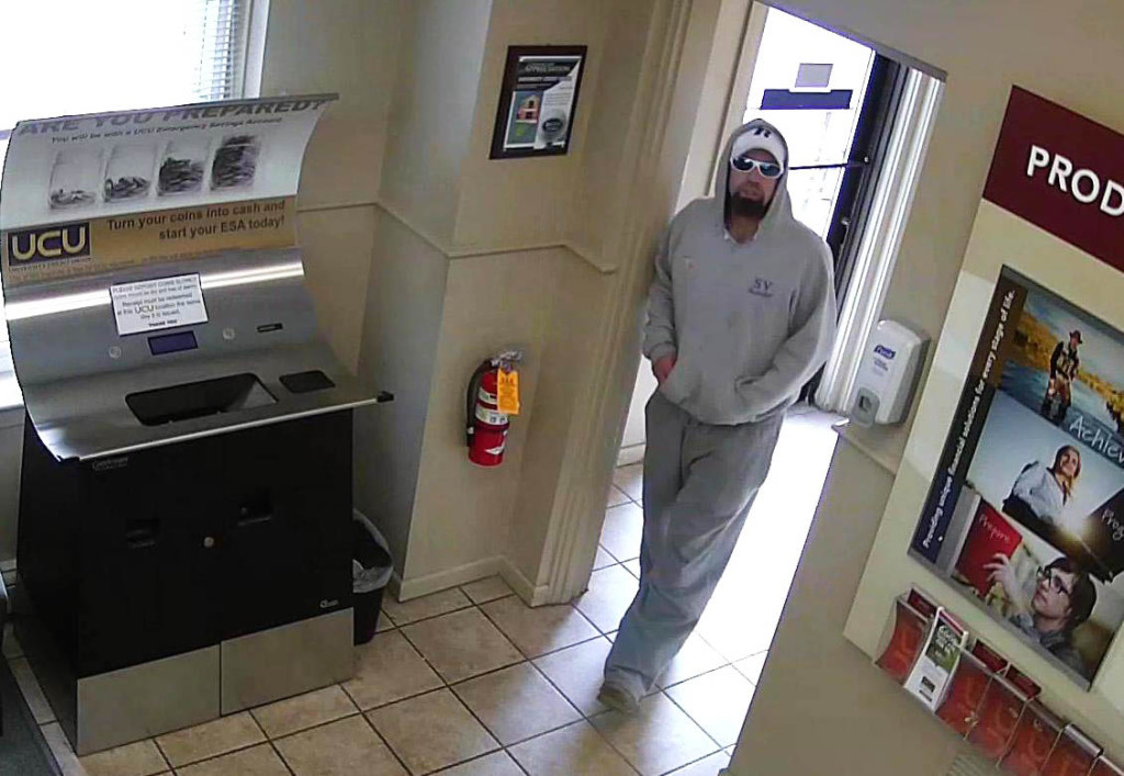 Portland police are looking for this man, who they say robbed the University Credit Union branch on Forest Avenue on Friday.