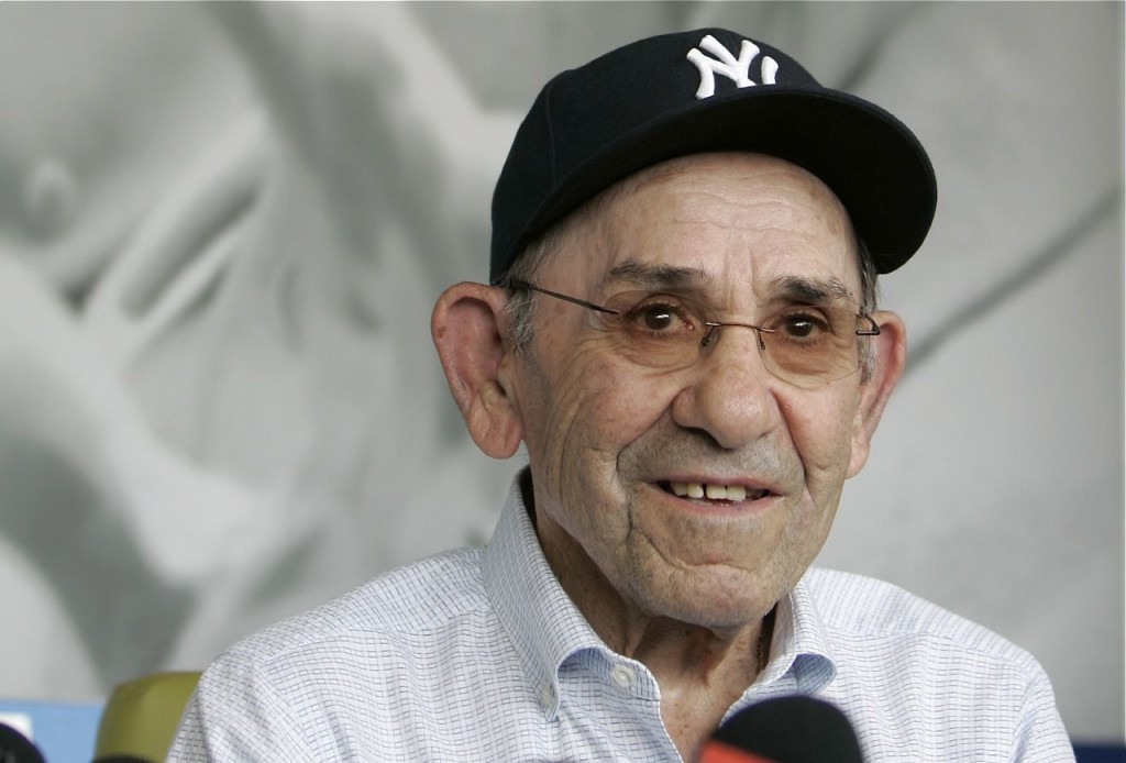 "Former New York Yankees great Yogi Berra in a 2010 photo. One of his most famous and repeated quotes:  ""It's deja vu all over again!"""