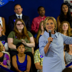 Democratic presidential candidate Hillary Clinton makes a campaign appearance at King Middle School in Portland on Friday.