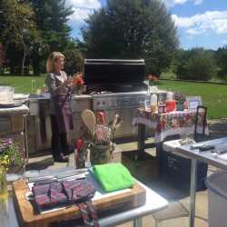 Chef Shannon Bard prepares to teach a class in the outdoor kitchen at Mirabelle House