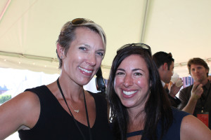 Carrie Montgomery, a stylist based in Kennebunkport, with Susan Pritzker of The Brand Company during the late afternoon reception of Maine Live.