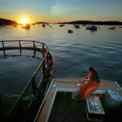 Genevieive McDonald fills up her lobster boat with gas before heading out for a day of lobstering off the coast of Stonington. The best lobstering used to be in Casco Bay in the 1980s but has shifted east and is now considered to be in and around Stonington.