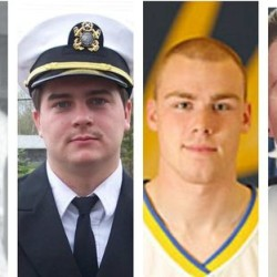 Pictured from left are Capt. Michael Davidson from Windham and Maine Maritime Academy graduates Michael Holland of Wilton, Danielle Randolph both of Rockland, and Dylan Meklin of Rockland. WCSH photo