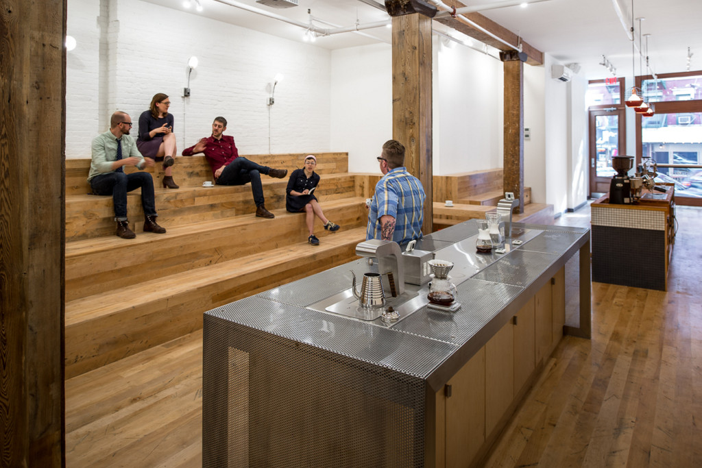 At Counter Culture's barista training center in New York City's trendy SoHo, the maple flooring came from an 1840s-era textile mill in Biddeford.