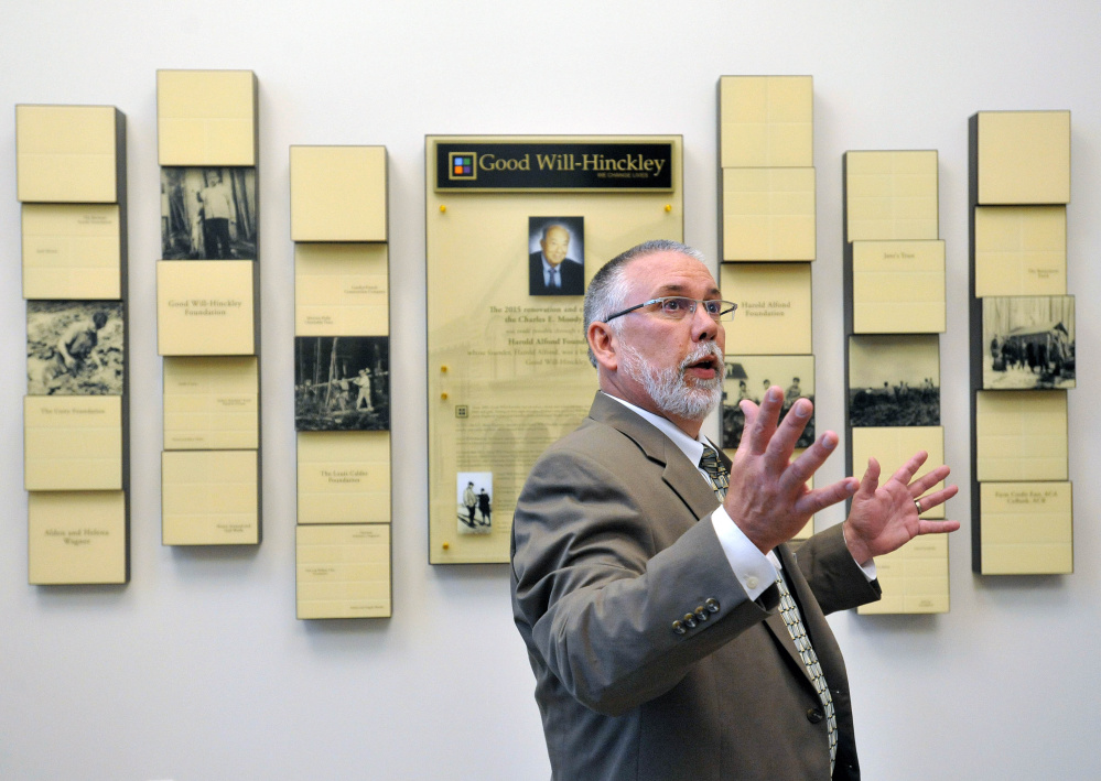 Rob Moody, interim president of Good Will-Hinckley, speaks on Wednesday in the new lobby of the former Moody School at the Good Will-Hinckley campus in Hinckley. The building recently underwent a $7 million renovation and expansion.