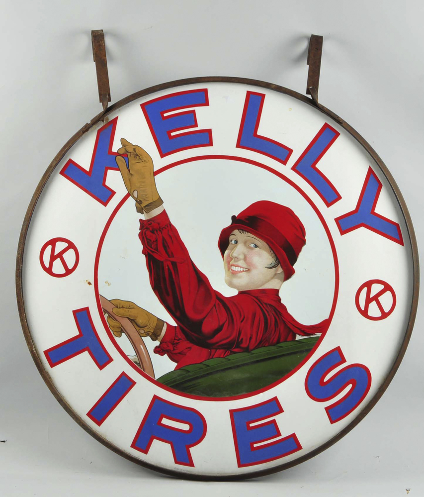 A porcelain sign advertising Kelly Tires, valued at $50,000 to $80,000, will be among the hundreds of items up for sale.