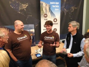 U.S. Sen. Angus King, far left, and America Online cofounder Steve Case, right, listen to Chimani co-founders Shaun Meredith and Kerry Gallivan during the Rise of the Rest tour in Maine on Friday.