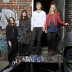 Von Trapp great-grandchildren, from left, Amanda, Melanie, August and Sofi, stand outside the Lincoln Theatre in Washington, D.C., where they were to share the bill with Loretta Lynn. The four are carving out their own niche as von Trapp, an indie rock band.