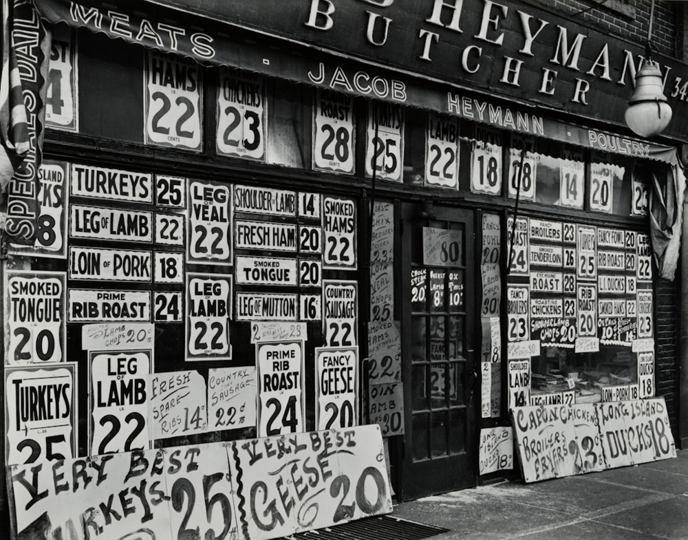 """Jacob Heymann Butcher Shop,"" by Berenice Abbott"