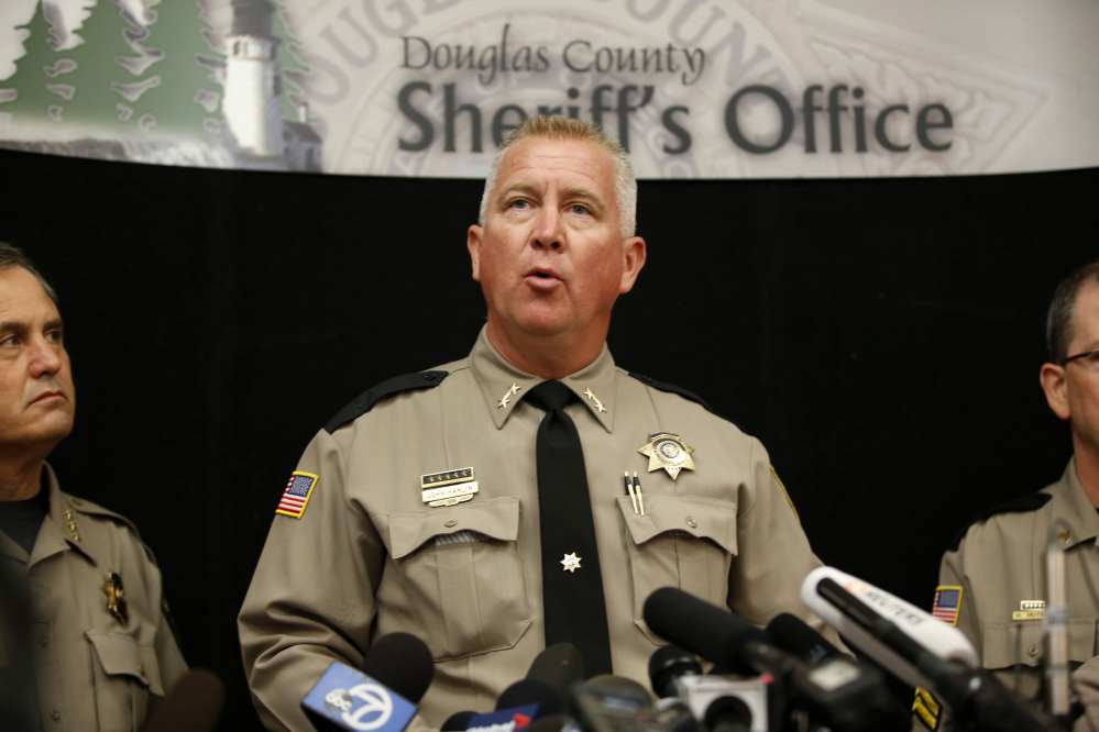 Douglas County Sheriff John Hanlin speaks about the mass shooting at Umpqua Community College during a news conference Friday in Roseburg, Ore.