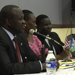 South Sudan rebel leader Riek Machar visited Portland Friday to explain a recently signed peace agreement that will return Machar to his former role as the east African country's vice president.