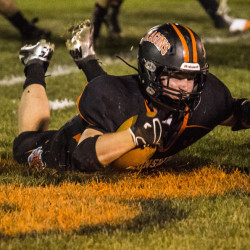 Will Bessey didn't spend much time on the ground Friday night for Brunswick but when he did, he was straining for extra yardage. Bessey pulled off one of those eye-popping nights, scoring six touchdowns as the undefeated Dragons defeated Skowhegan, 56-35.