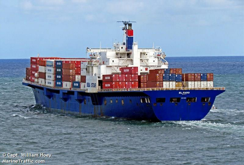 The 735-foot cargo ship El Faro, which vanished off the Bahamas during Hurricane Joaquin, was carrying at least four Mainers, many of them graduates of Maine Maritime Academy. Photo by Capt. William Hoey/MarineTraffic.com