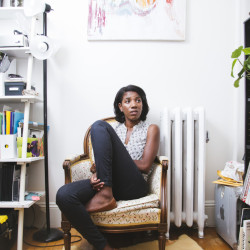 "A native of France born to Haitian parents, 28-year-old Edwige Charlot of Portland calls the art that she creates – a mixture of printmaking, painting and drawing – her ""visual Creole."" Whitney Hayward/Staff Photographer"