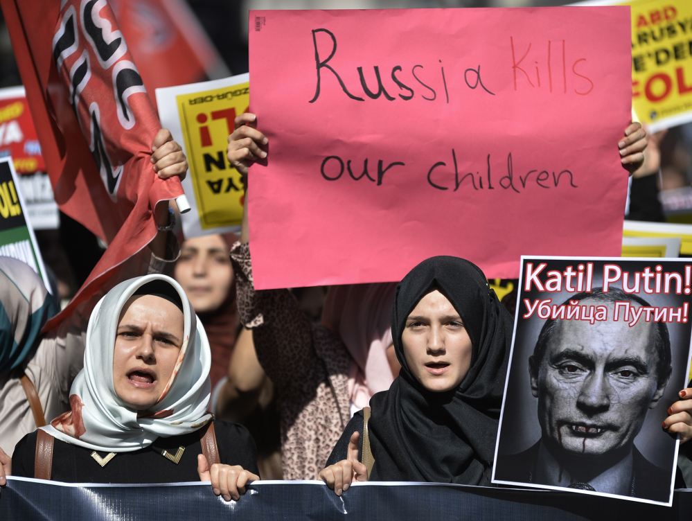 As Russia steps up its airstrikes in Syria, many Syrians accuse the Putin government of using the threat of the Islamic State as an excuse to also neutralize Western-backed rebels trying to overthrow Bashar Assad.