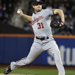 The Associated Press   Washington Nationals starter Max Scherzer (31) pitches against the New York Mets in the first inning of the second baseball game of a doubleheader, Saturday, Oct. 3, 2015, in New York.